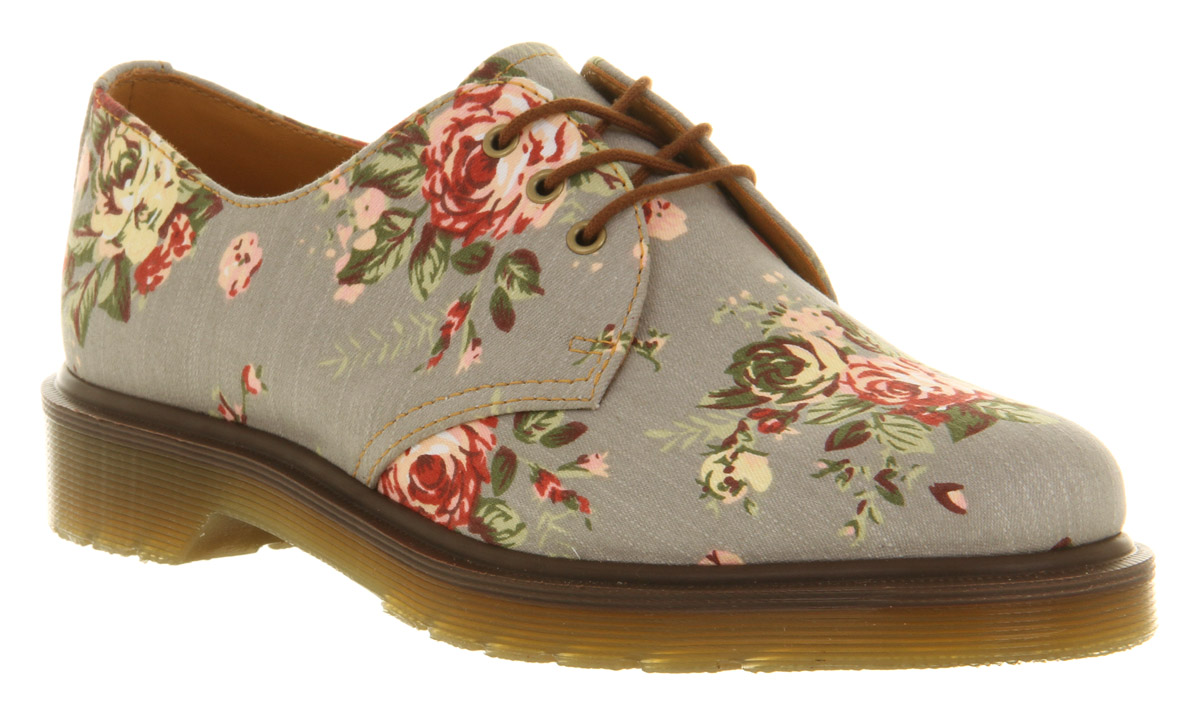 womens dr martens grey floral 3 eye lace up flat shoes ebay. Black Bedroom Furniture Sets. Home Design Ideas