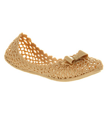 Womens-Mel-Jujube-Gold-Bow-Pump-Flat-Shoes