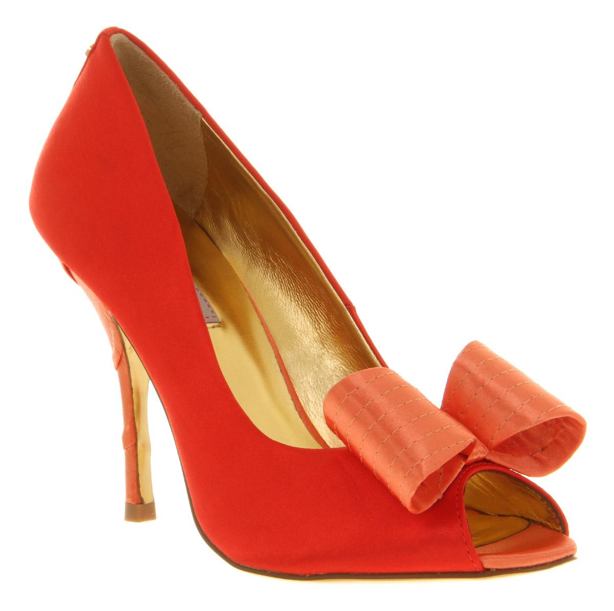 Womens-Ted-Baker-Philesa-Orange-Textile-Peeptoe-Bow-Court-Heel-Shoes