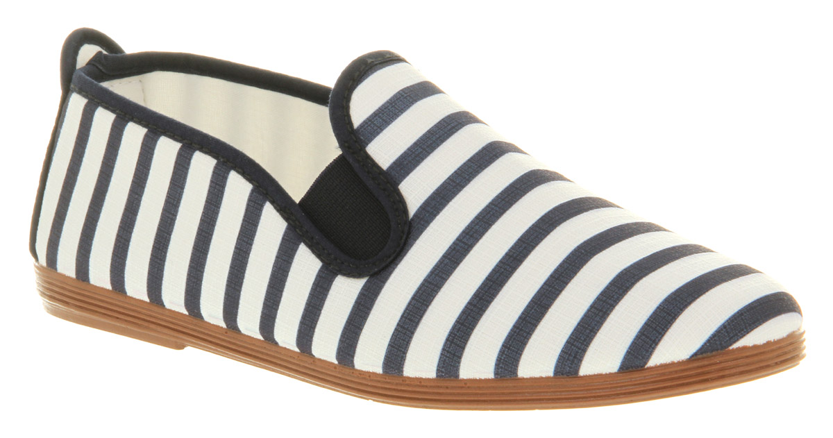 Womens-Flossy-Flossy-Stripey-Canvas-Elastic-Pump-Flat-Shoes