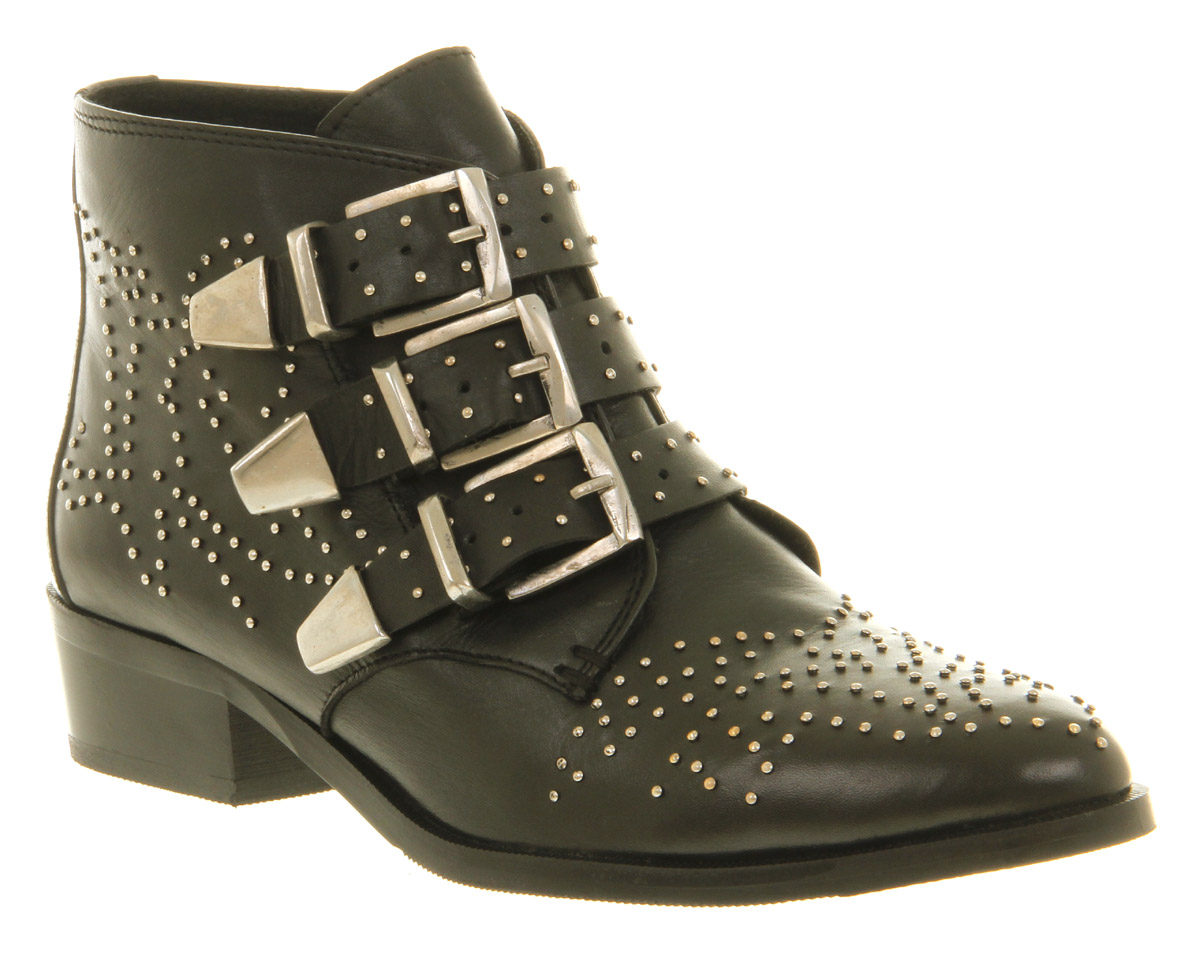 Womens Office Nighthawk Stud Black Leather Buckle Low Heel Ankle ...
