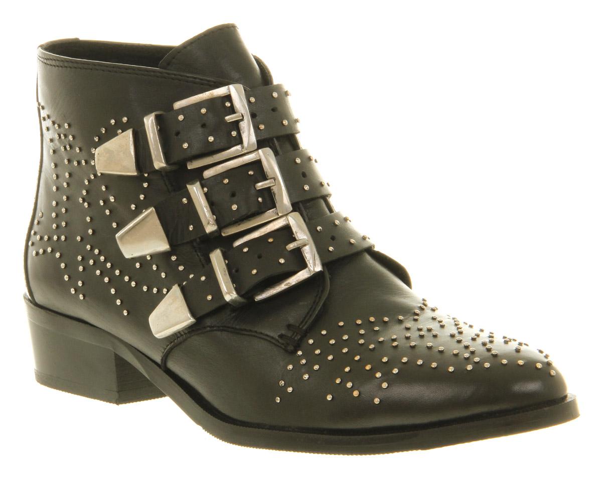 Womens Office Nighthawk Stud Black Leather Buckle Low Heel Ankle ...