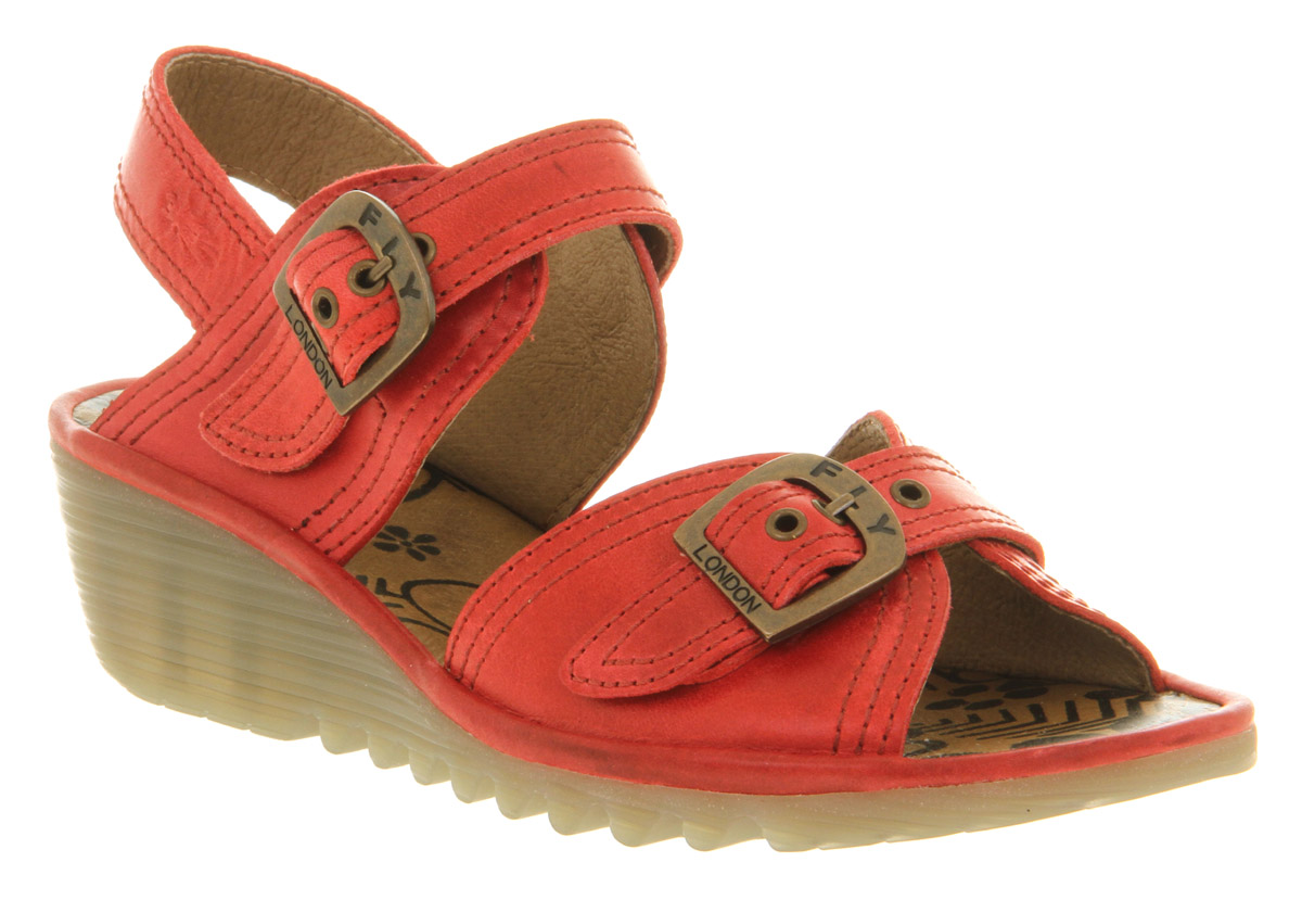 Womens-Fly-London-Oelia-Smu-Red-Leather-Buckle-Low-Heel-Wedge-Shoes