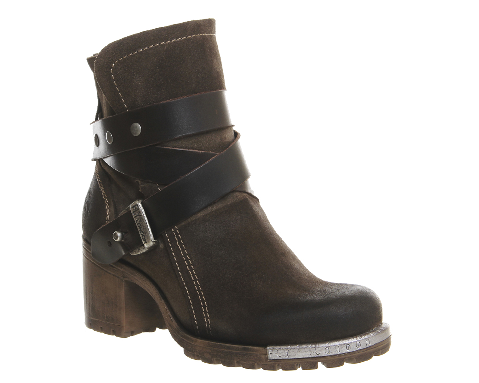 womens fly lok ankle boots sludge brown