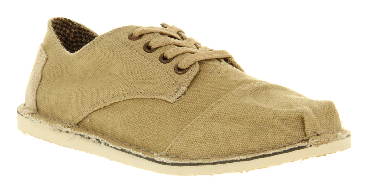 mens toms desert oxford beige canvas lace up casual shoes