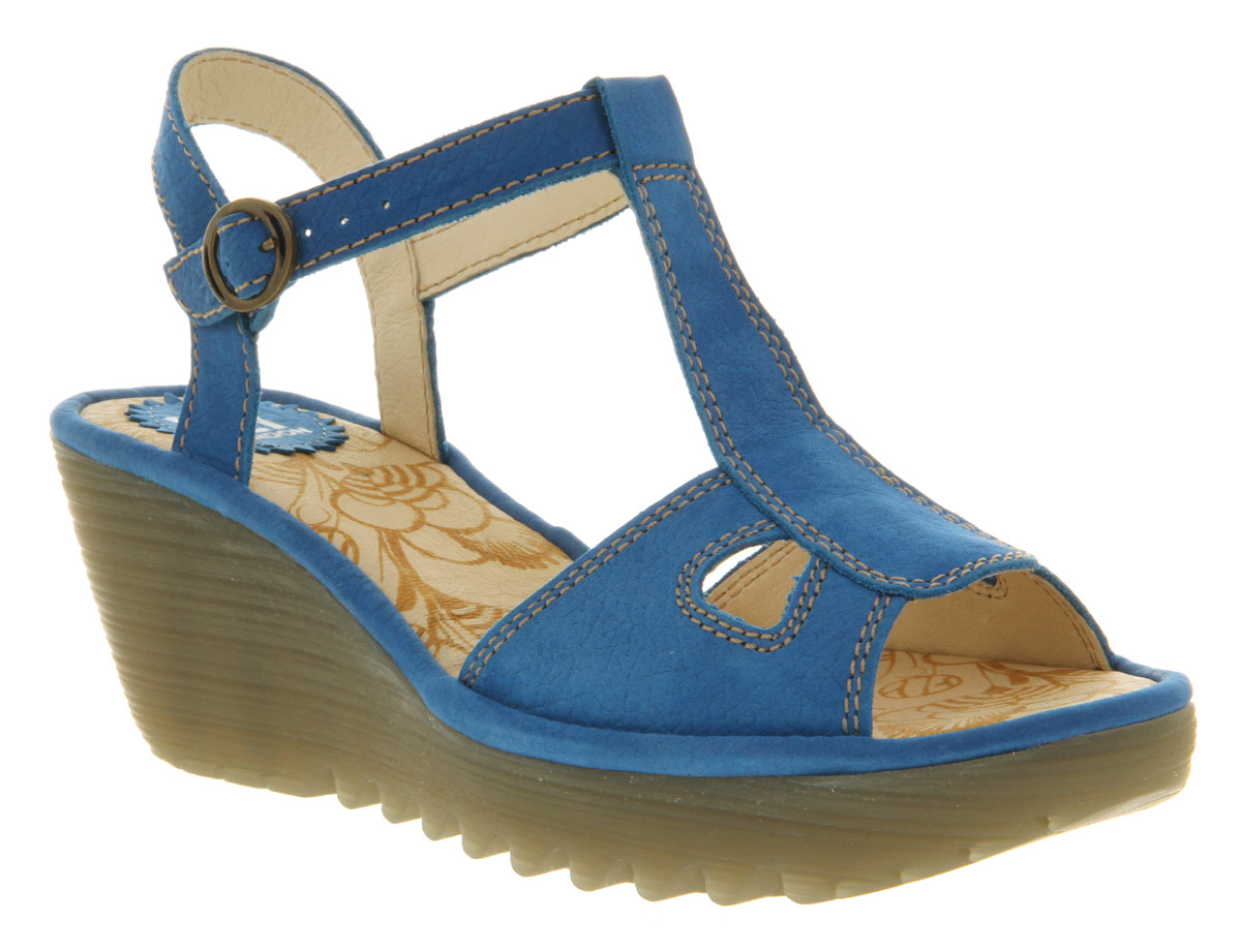 Womens-Fly-London-Yolia-Smu-Blue-Leather-Buckle-Heel-Wedge-Sandal-Shoes
