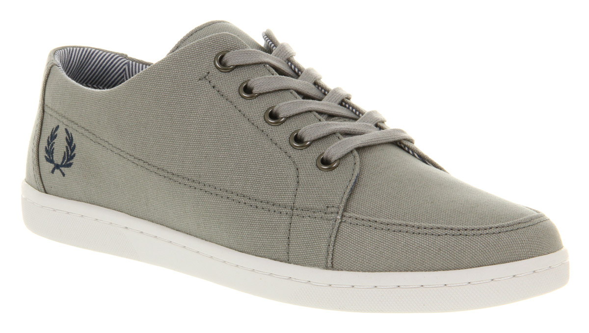 Mens-Fred-Perry-Lawrence-Limestone-Grey-Blue-Lace-Up-Trainers-Shoes