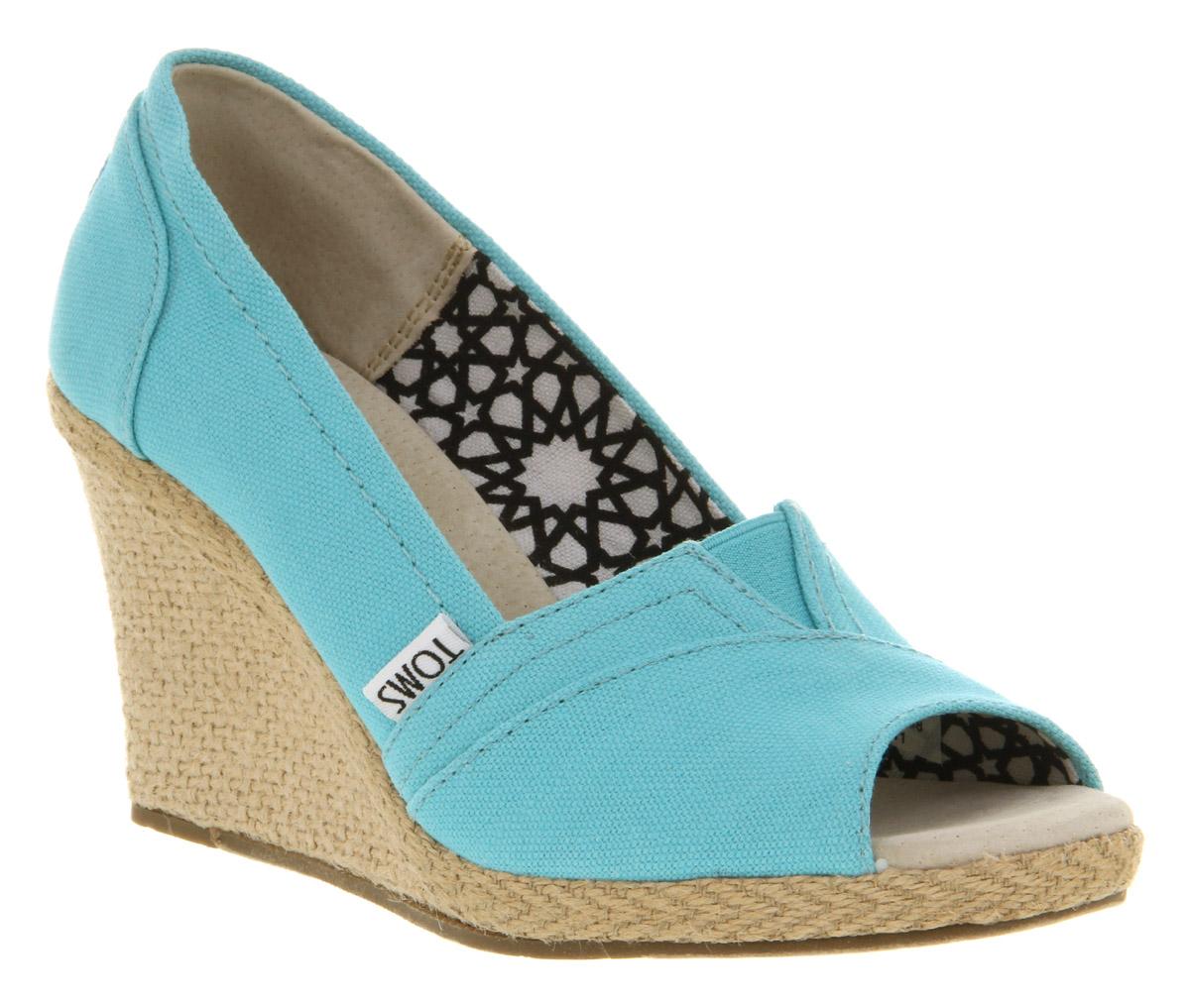 womens toms wedge peeptoe aqua canvas heels shoes ebay