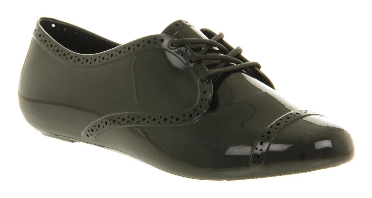 Womens-Mel-Lemon-Lace-Up-Brogue-Black-Shiny-Flats-Shoes