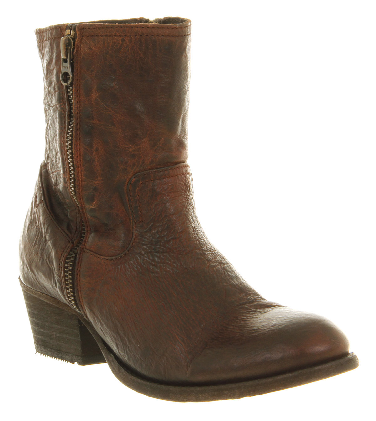 Womens-H-By-Hudson-Riley-Zip-Ankle-Boot-Tan-Leather-Boots-Shoes