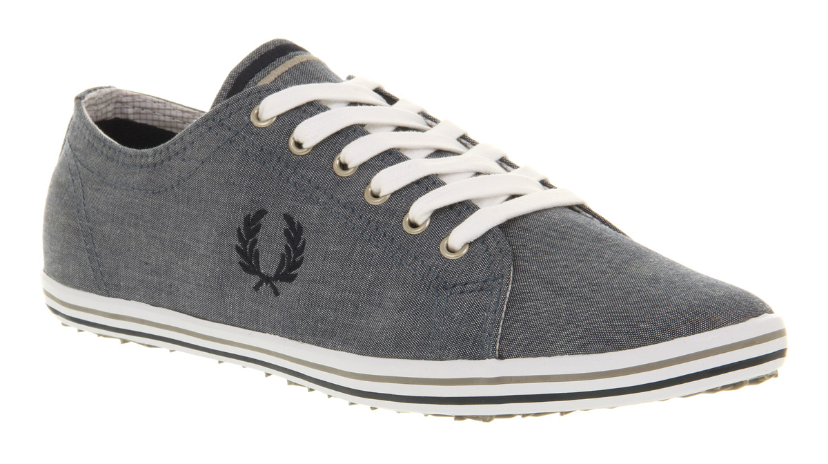 Mens Fred Perry Kingston Navy Chambray Trainers Shoes   eBay