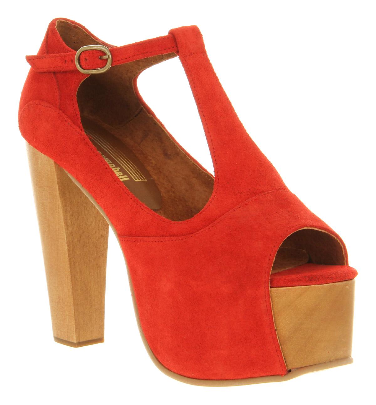 Womens Jeffrey Campbell Foxy Heel Platform Red Suede Heels | eBay