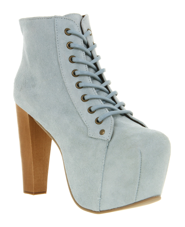 womens jeffrey campbell lita platform ankle boot pale blue suede boots ebay. Black Bedroom Furniture Sets. Home Design Ideas