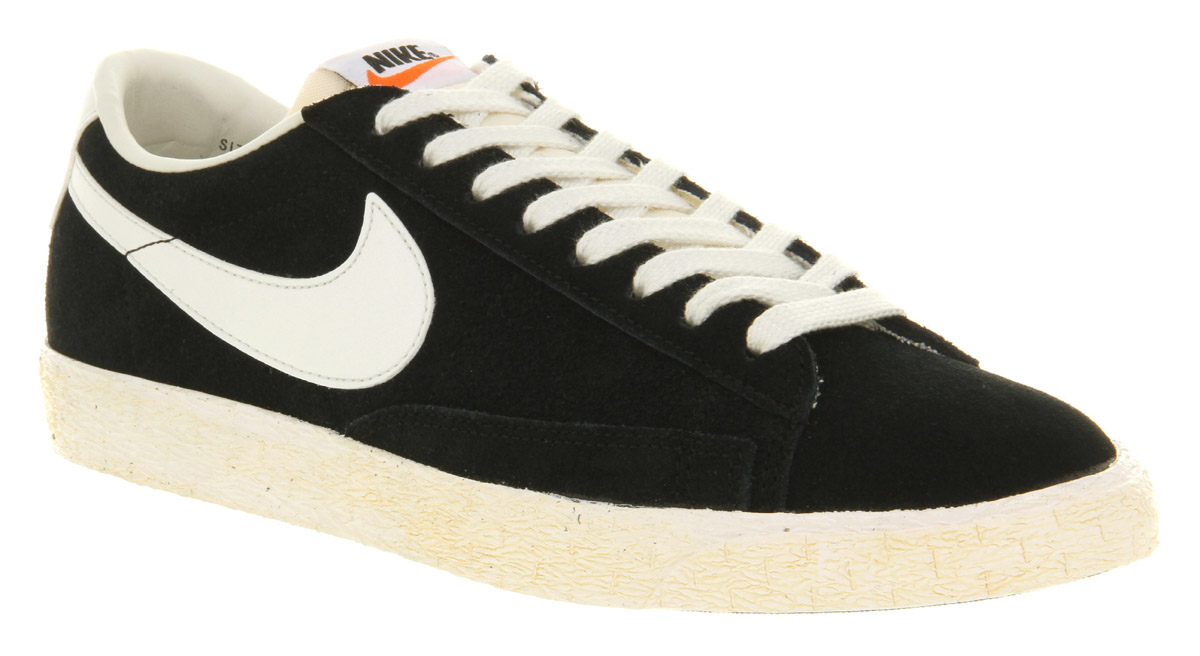 nike blazers low black and white suede