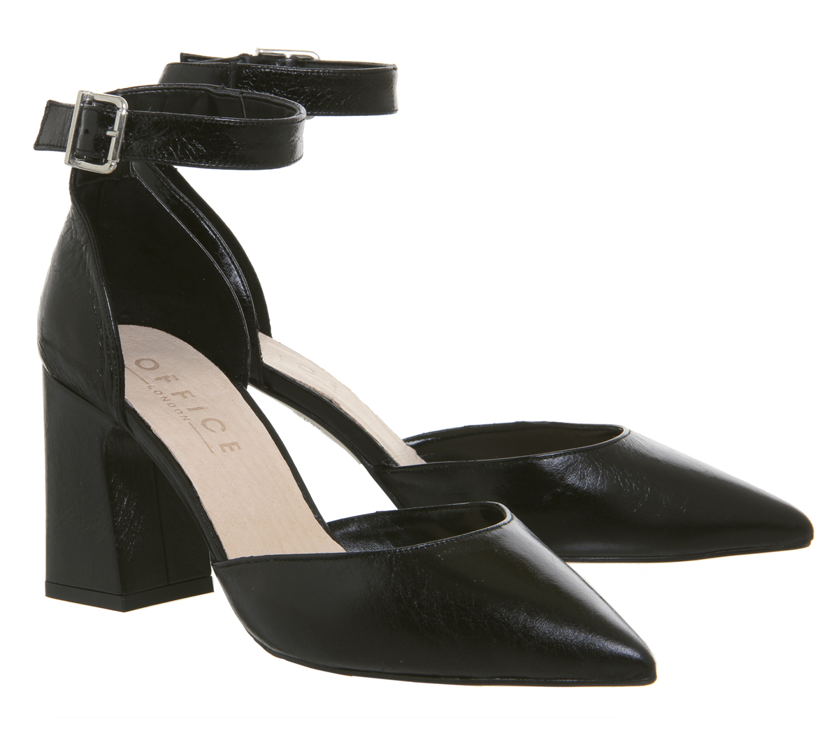 Womens Office Meringue Pointed Two Part Heels Black Leather Heels