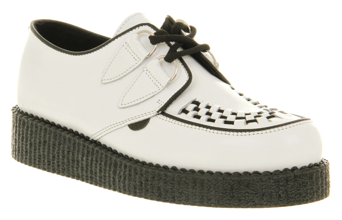 Mens-Underground-Wulfrun-Creeper-White-Leather-Casual-Shoes