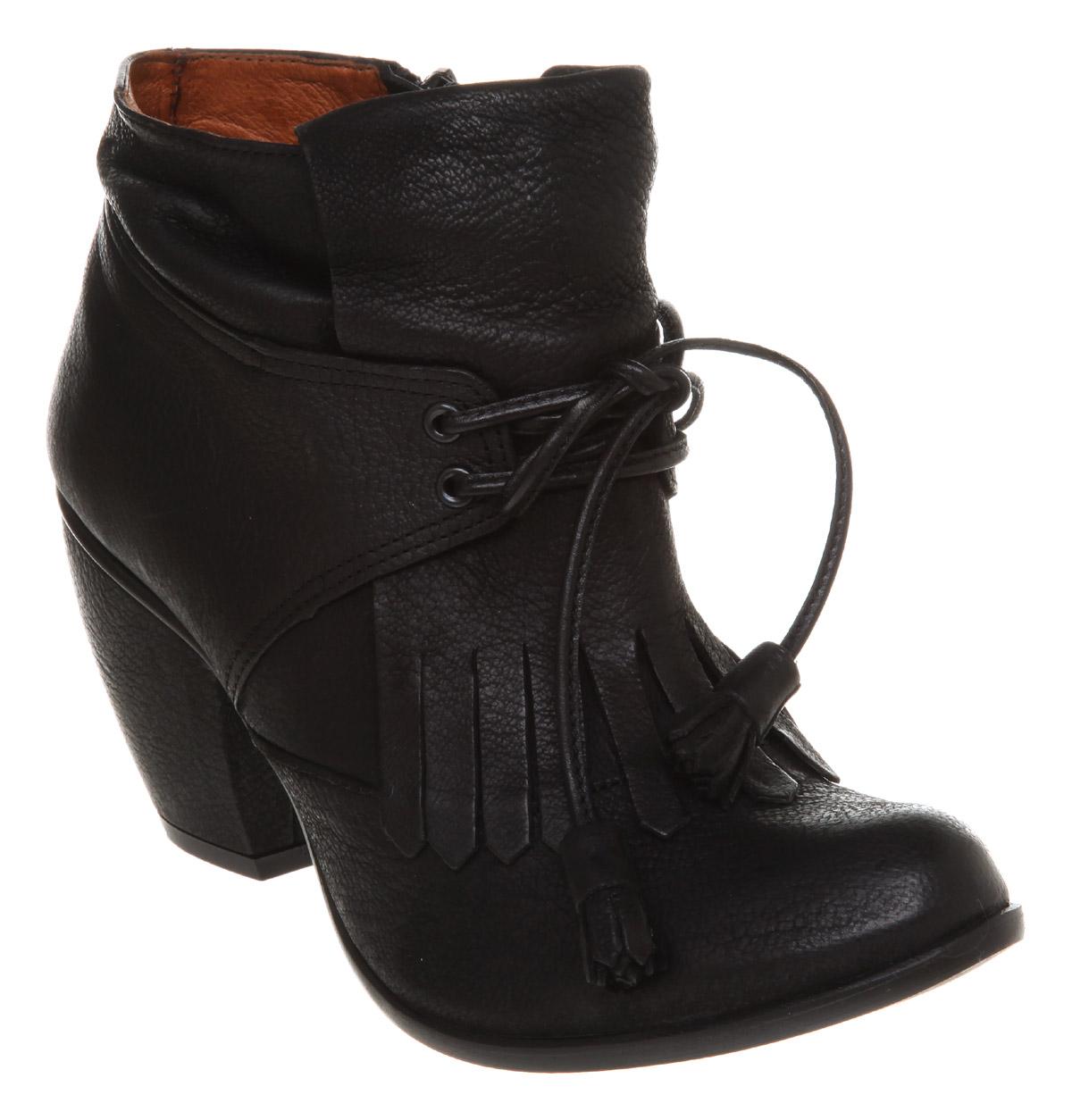 womens office king fringe black leather boots size 3 ebay