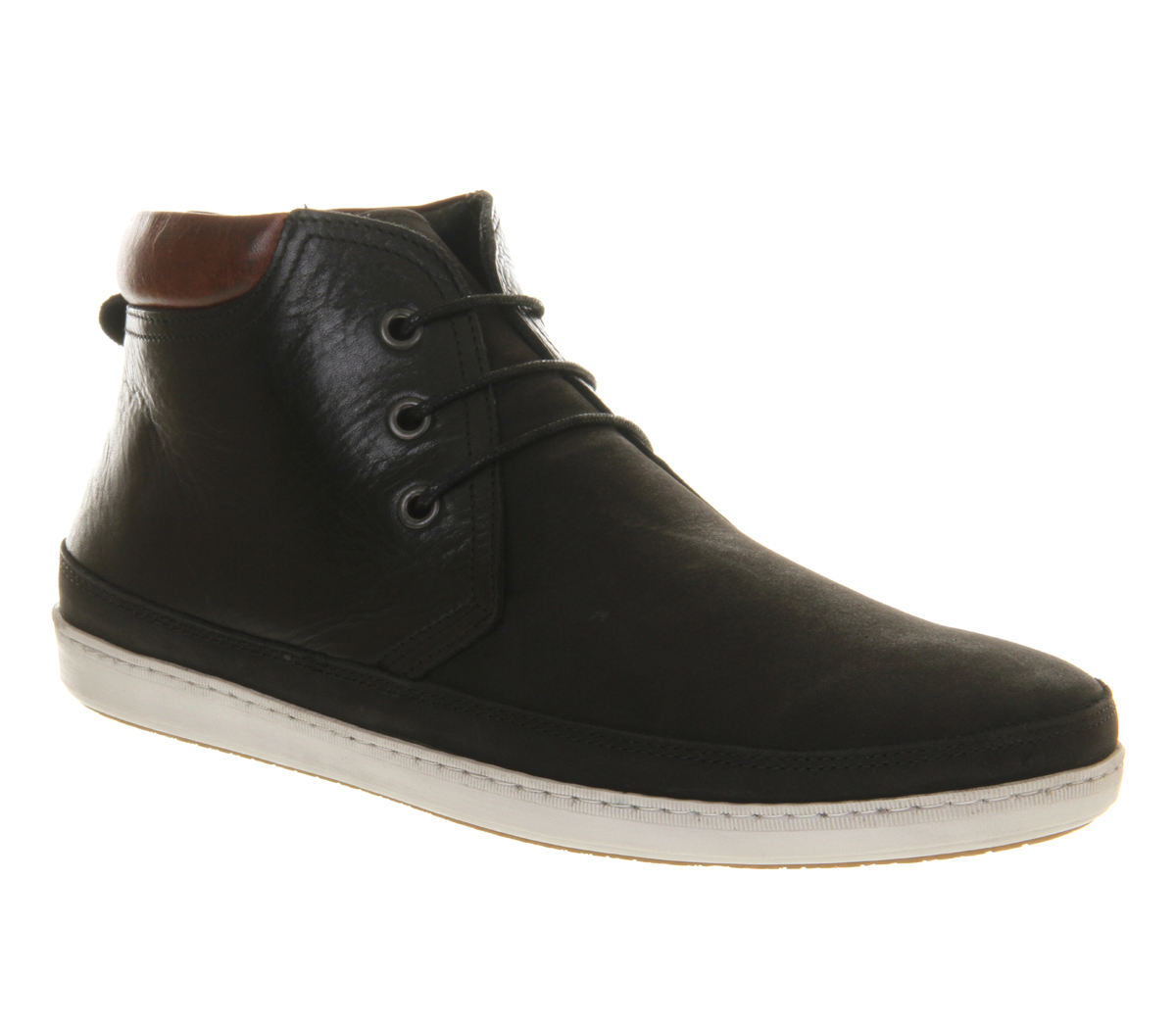 mens office skate chukka boot black leather mix boots ebay