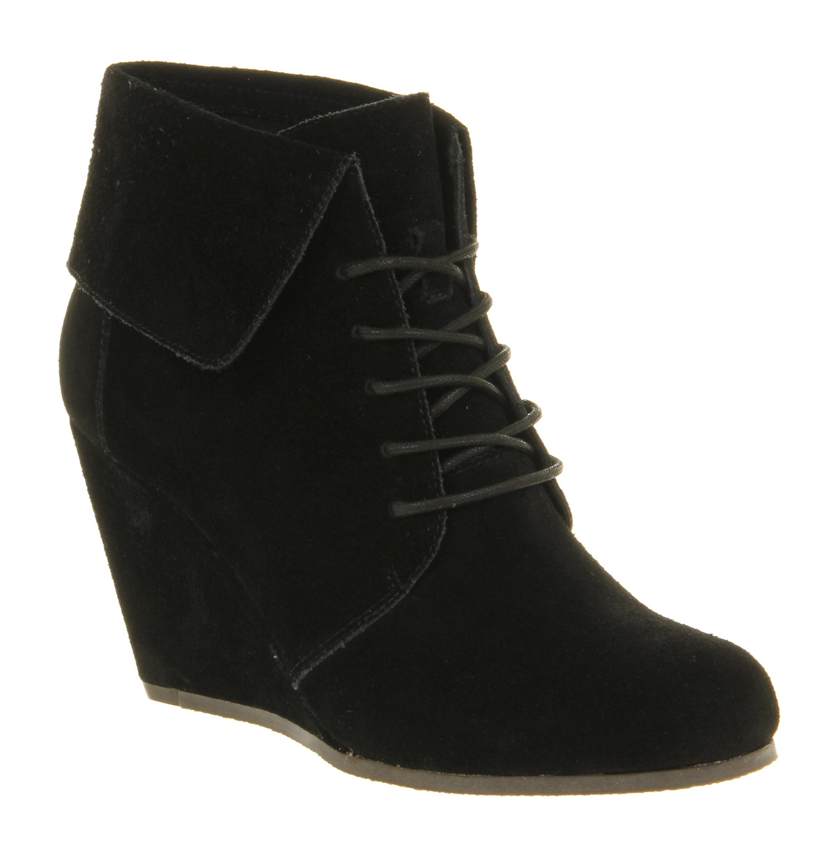 womens office dabble wedge black suede boots size
