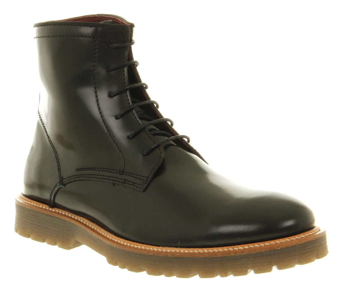 mens poste callum lace boot black hi shine leather boots