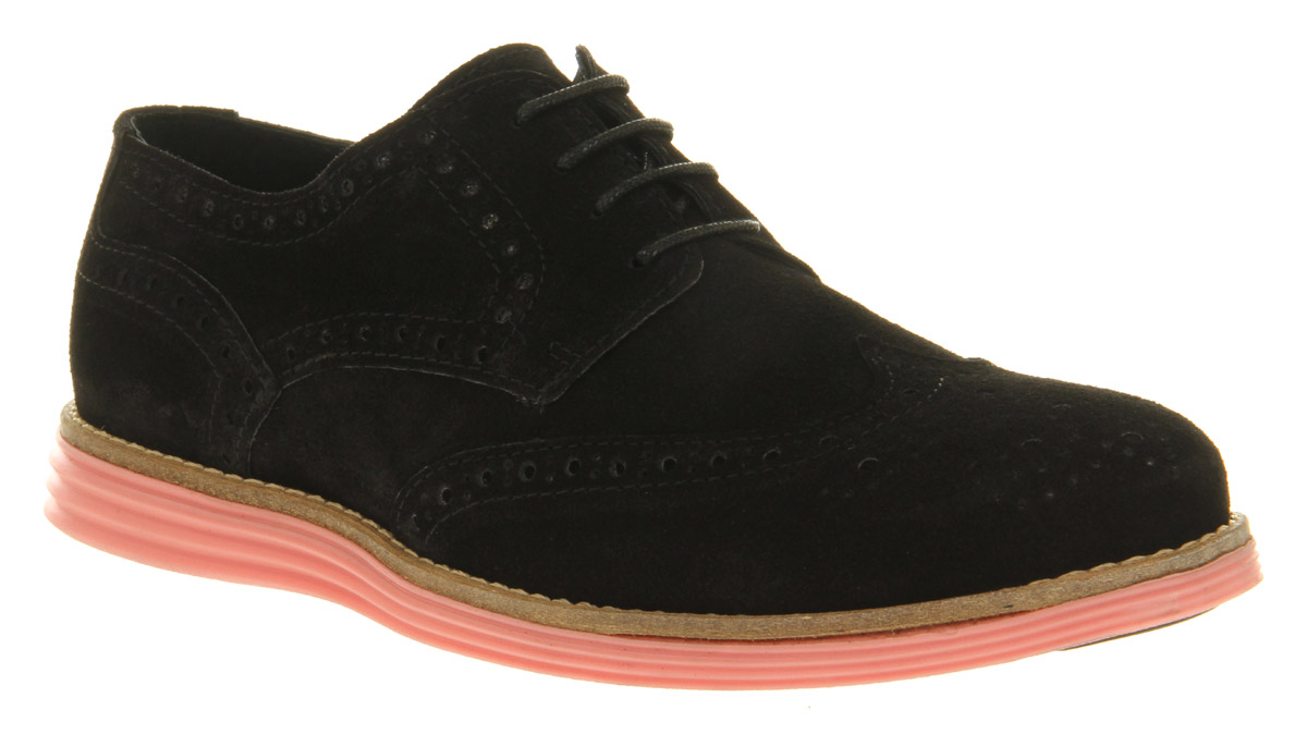 mens ask the missus uranus brogue black suede pink sole