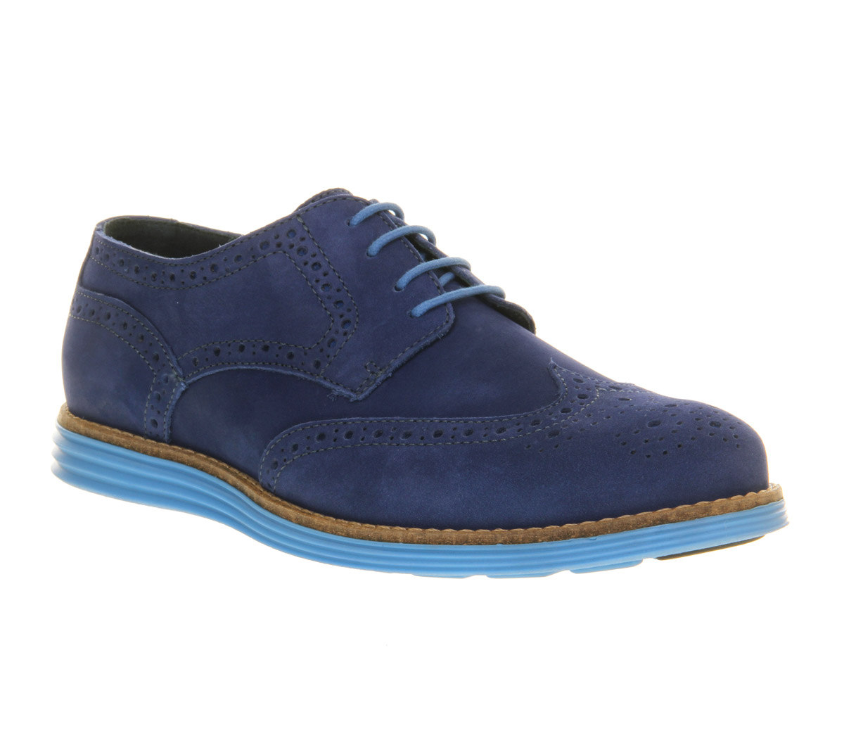 mens ask the missus uranus brogue blue nubuck blue sole