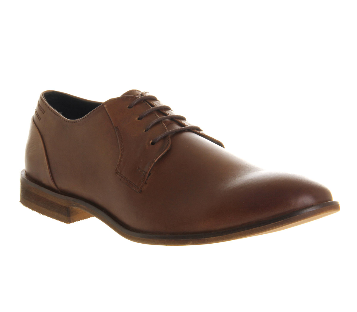 mens office ram toe brown leather formal shoes
