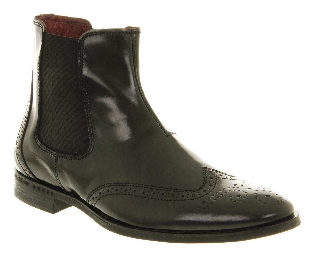 mens ask the missus barker chelsea boot black hi shine