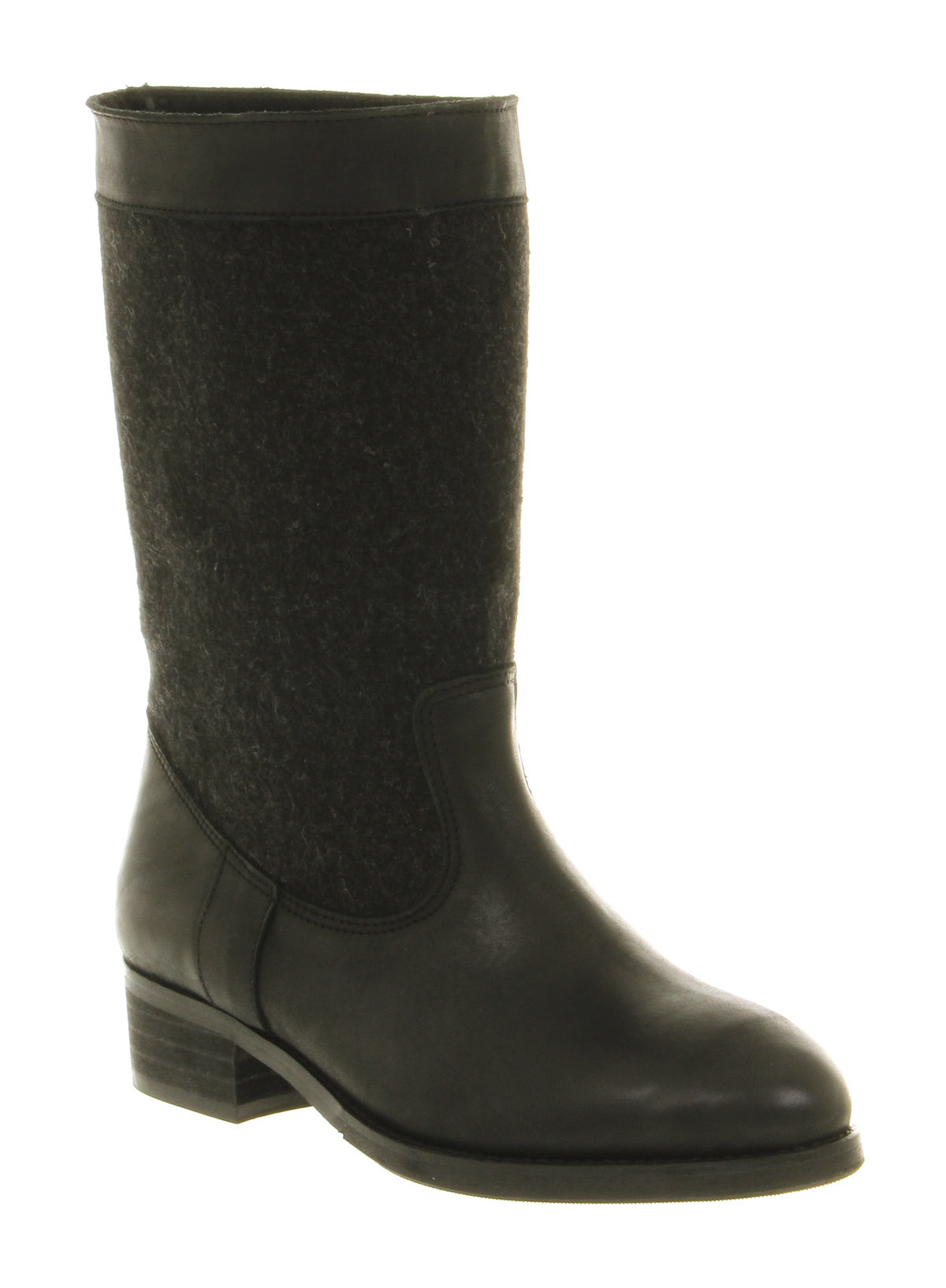 womens office gling tapestry boot black leather felt