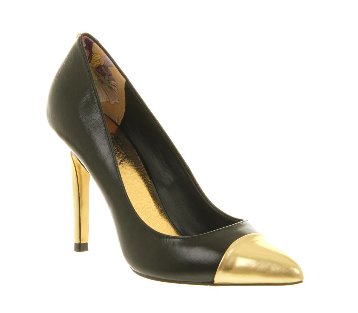 Designer Black Court Shoe With Gold High Heel