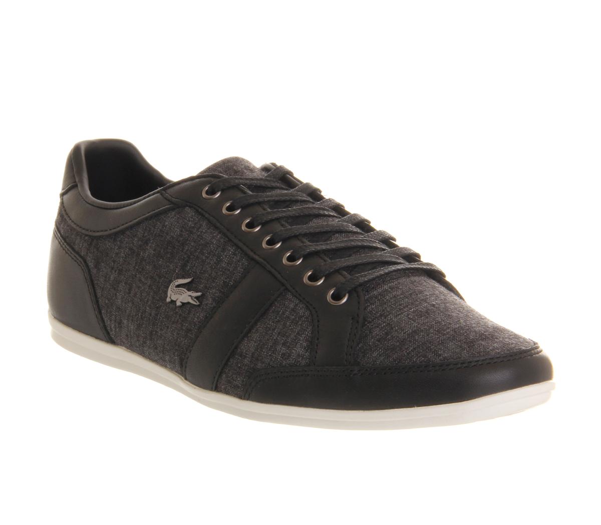 mens lacoste alisos black leather linen trainers shoes