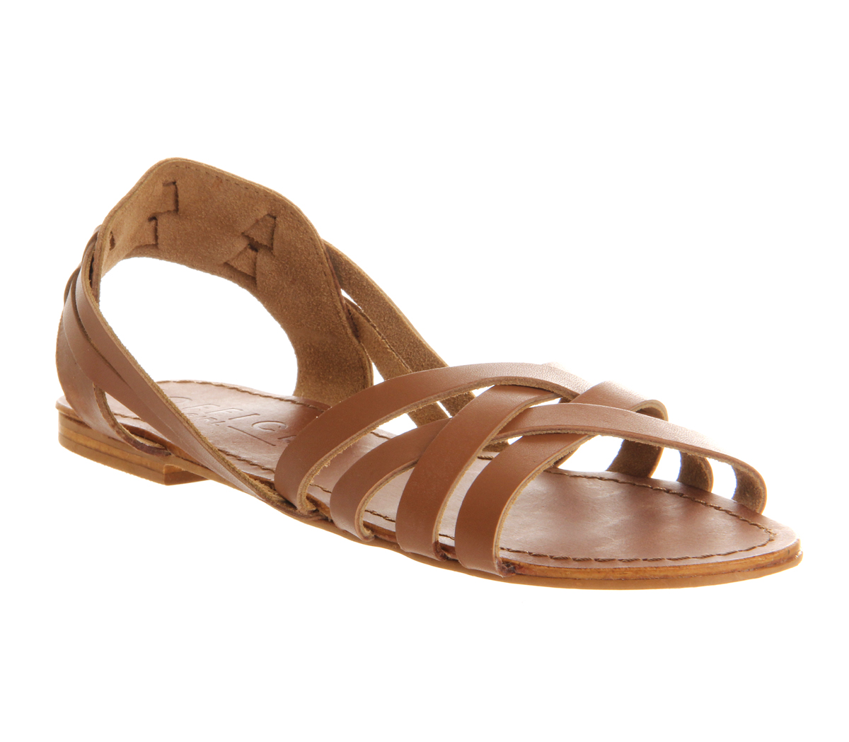 Creative Trotters Womens Mickey Sandals In Tan Soft Dull Leather
