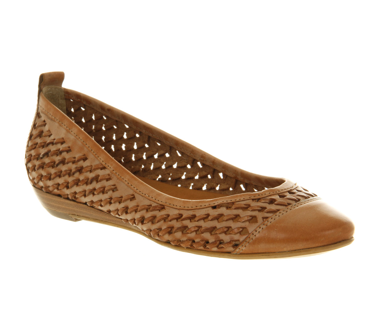 Image Is Loading Womens Office Placement Weave Tan Leather Flats