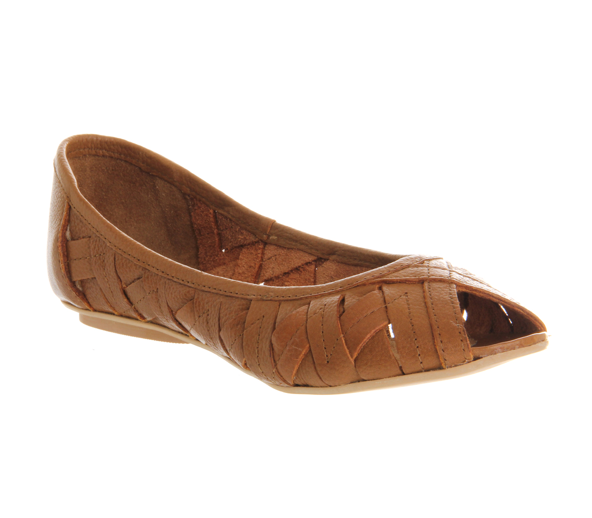 Image Is Loading Womens Office Papaya Tan Leather Flats