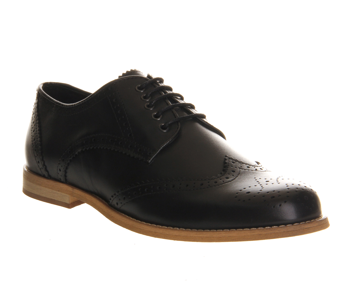 Mens Ask the Missus Cardinal Lace Up Brogues BLACK LEATHER Formal Shoes