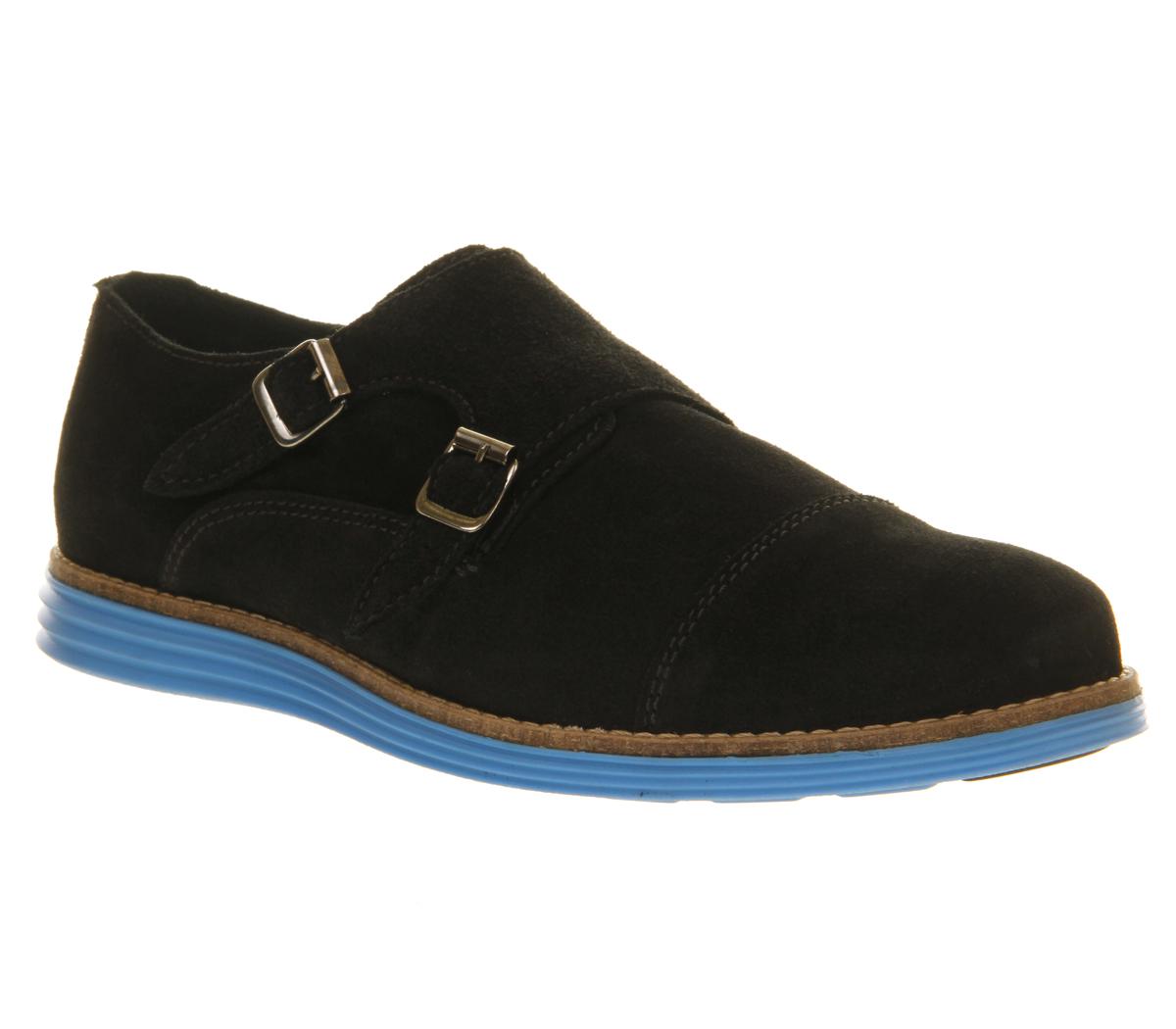 mens ask the missus venus monk shoe black suede blue sole