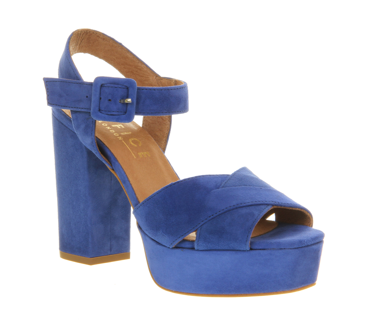 Womens Office Onward Platform Sandal Blue Suede Heels | eBay