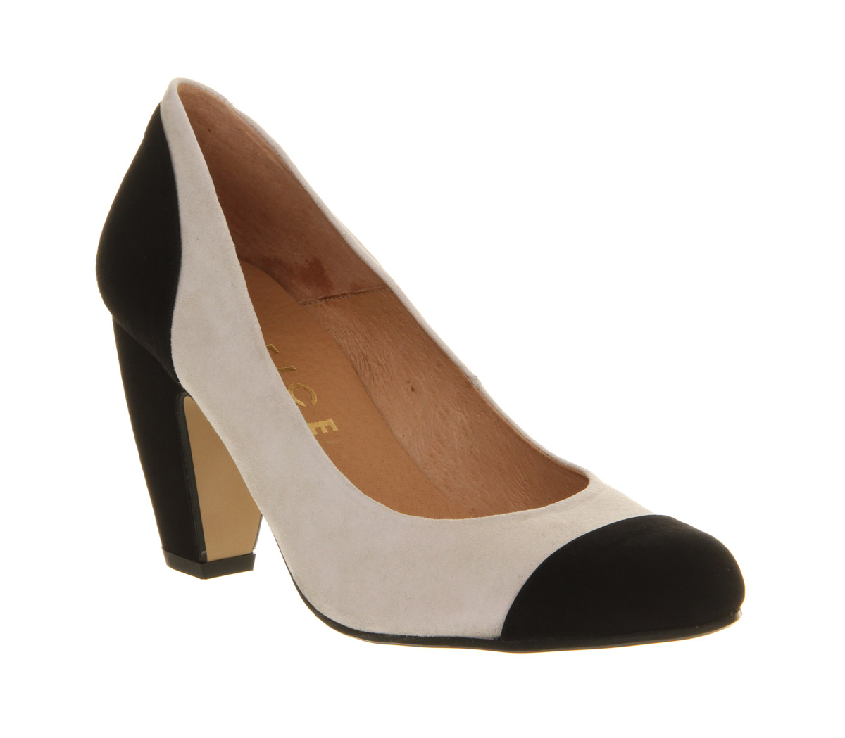 womens office finesse court black white suede heels size