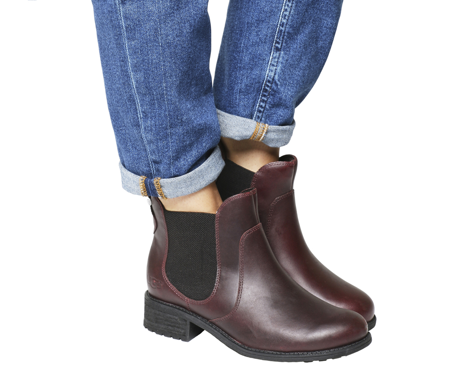 Womens Ugg Burgundy Leather Ankle Boots Uk Size 6 5 Ex