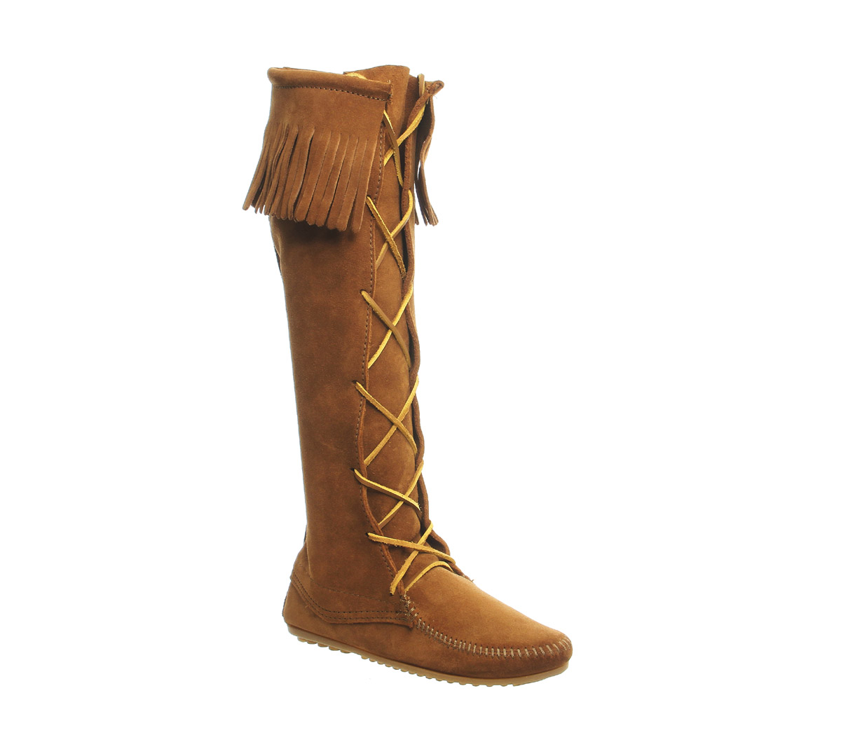 womens minnetonka brown suede knee high boots uk size 6