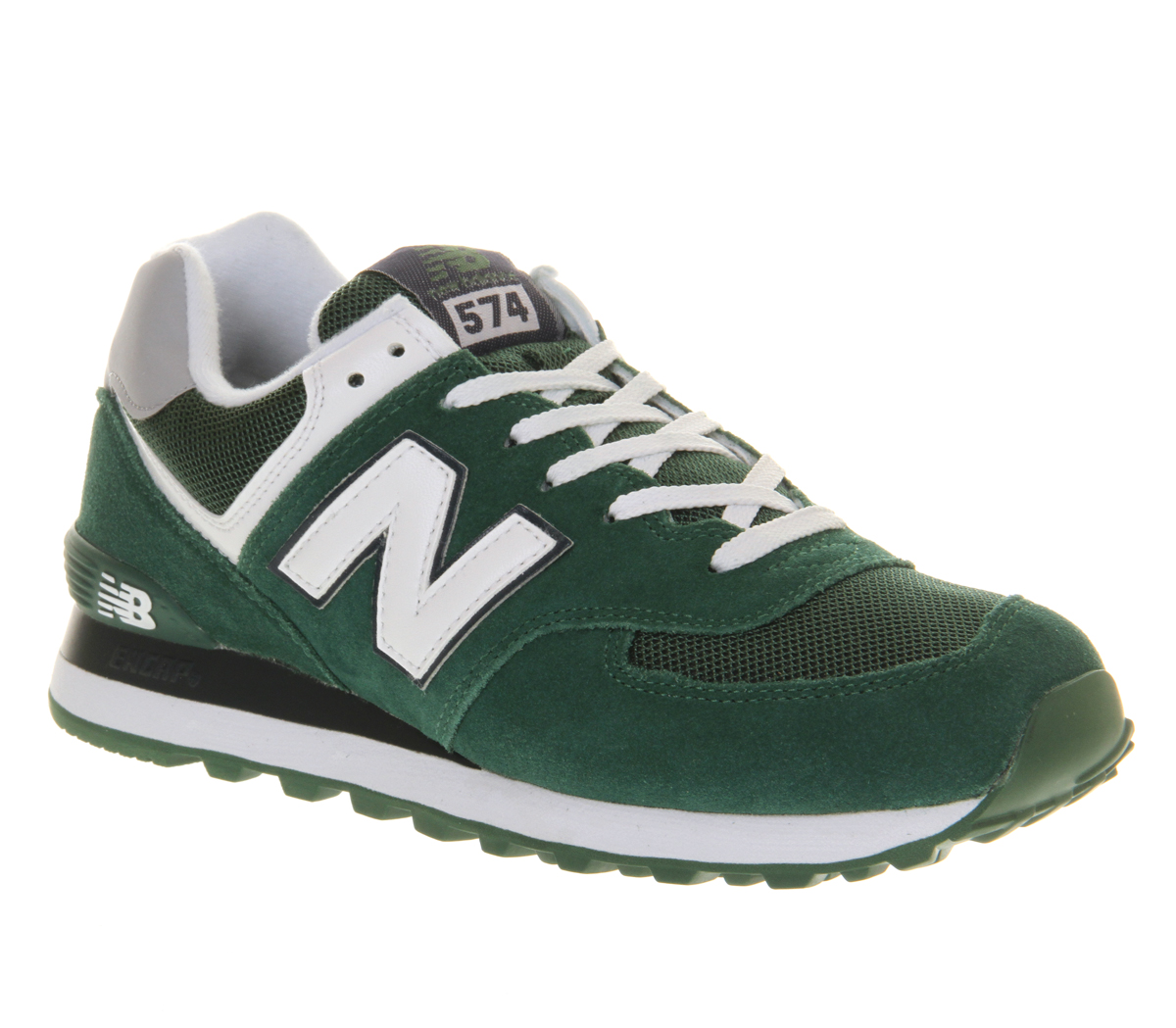 mens new balance new balance m574 green white trainers shoes ebay. Black Bedroom Furniture Sets. Home Design Ideas