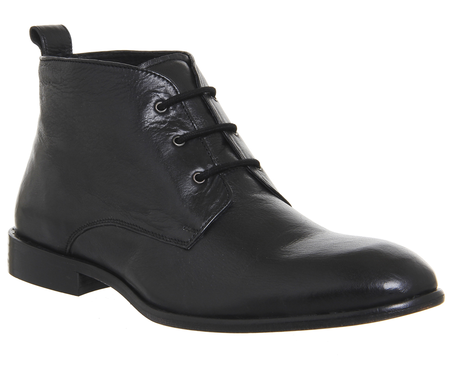 mens office black leather ankle boots uk size 9 ex