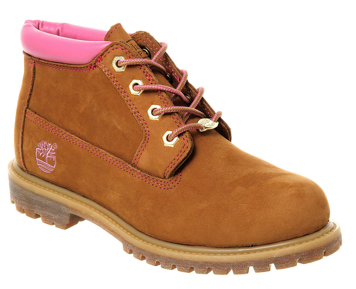 timberland womans 7 5m 28370 2640 brown pink detailing