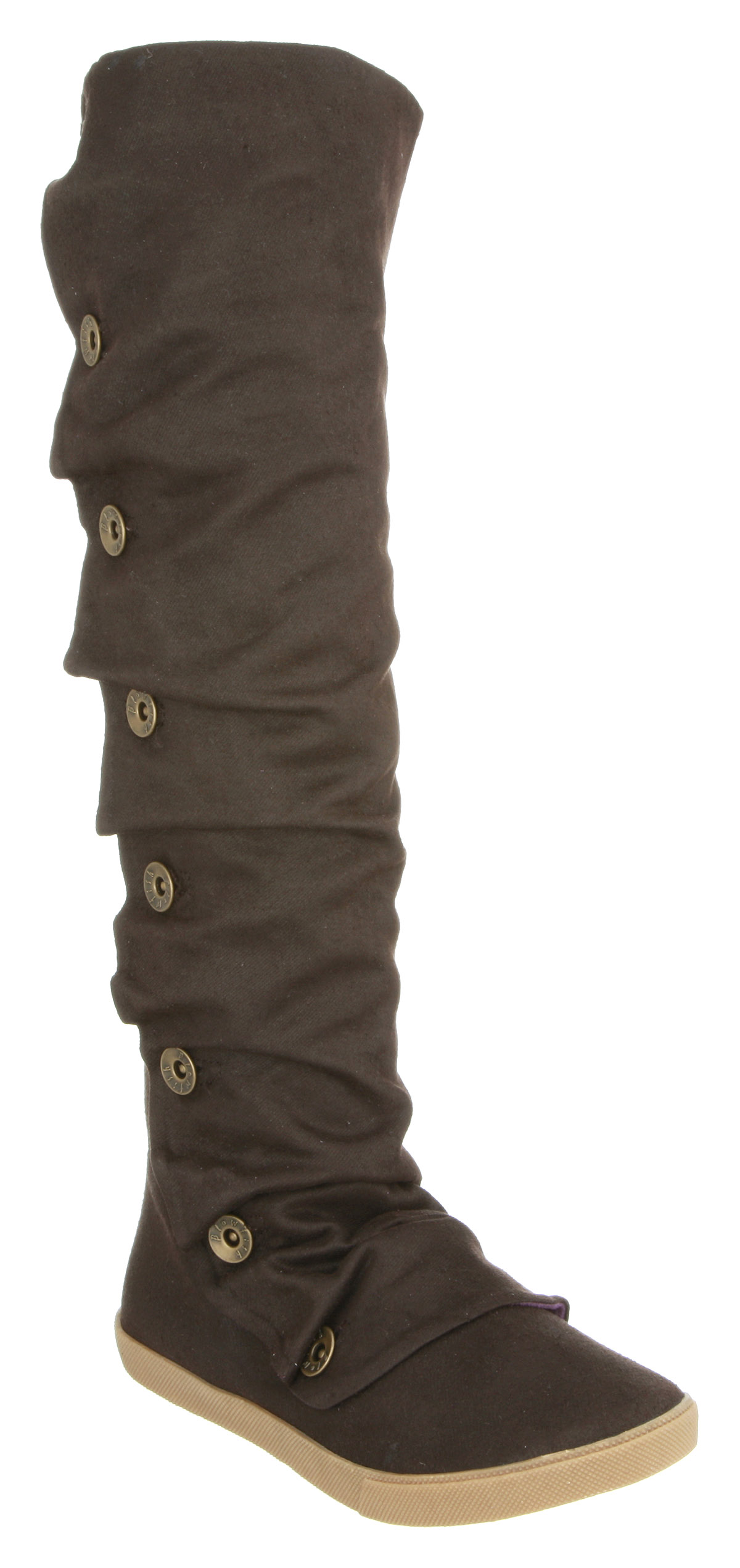 womens blowfish hey now knee button boot brown twill