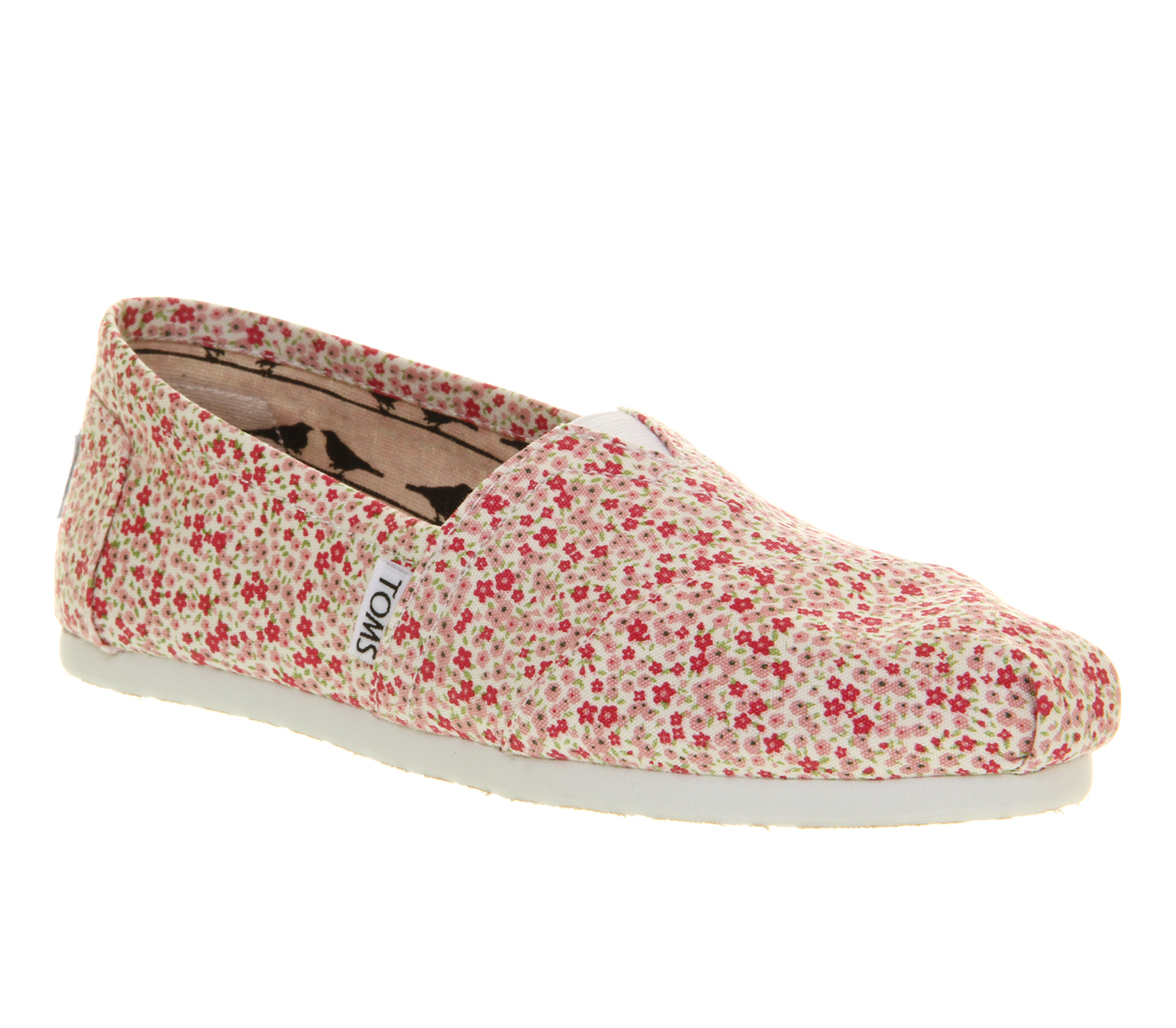 Womens-Toms-Classic-Slip-On-Ditsy-Floral-Berry-Exclusive-Flats