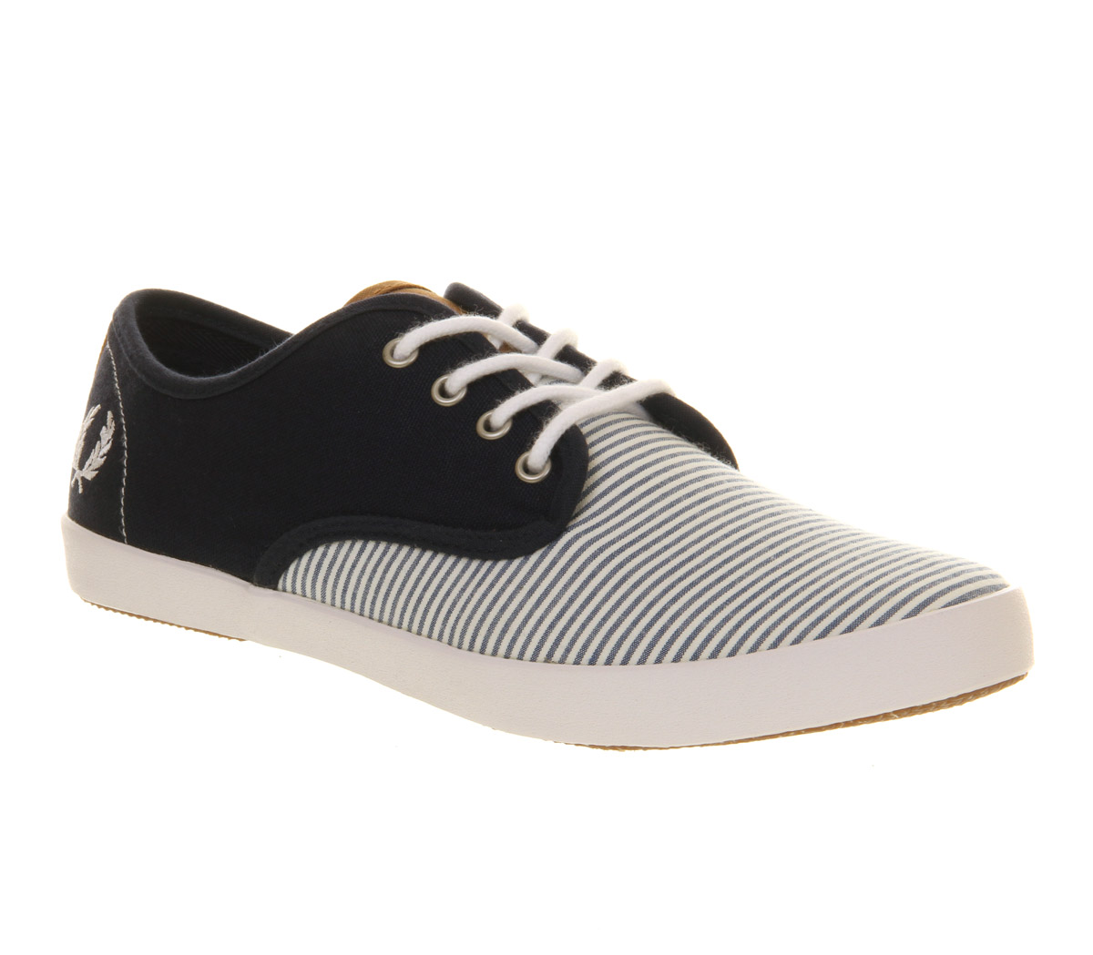 mens fred perry foxx canvas carbon blue white seersucker
