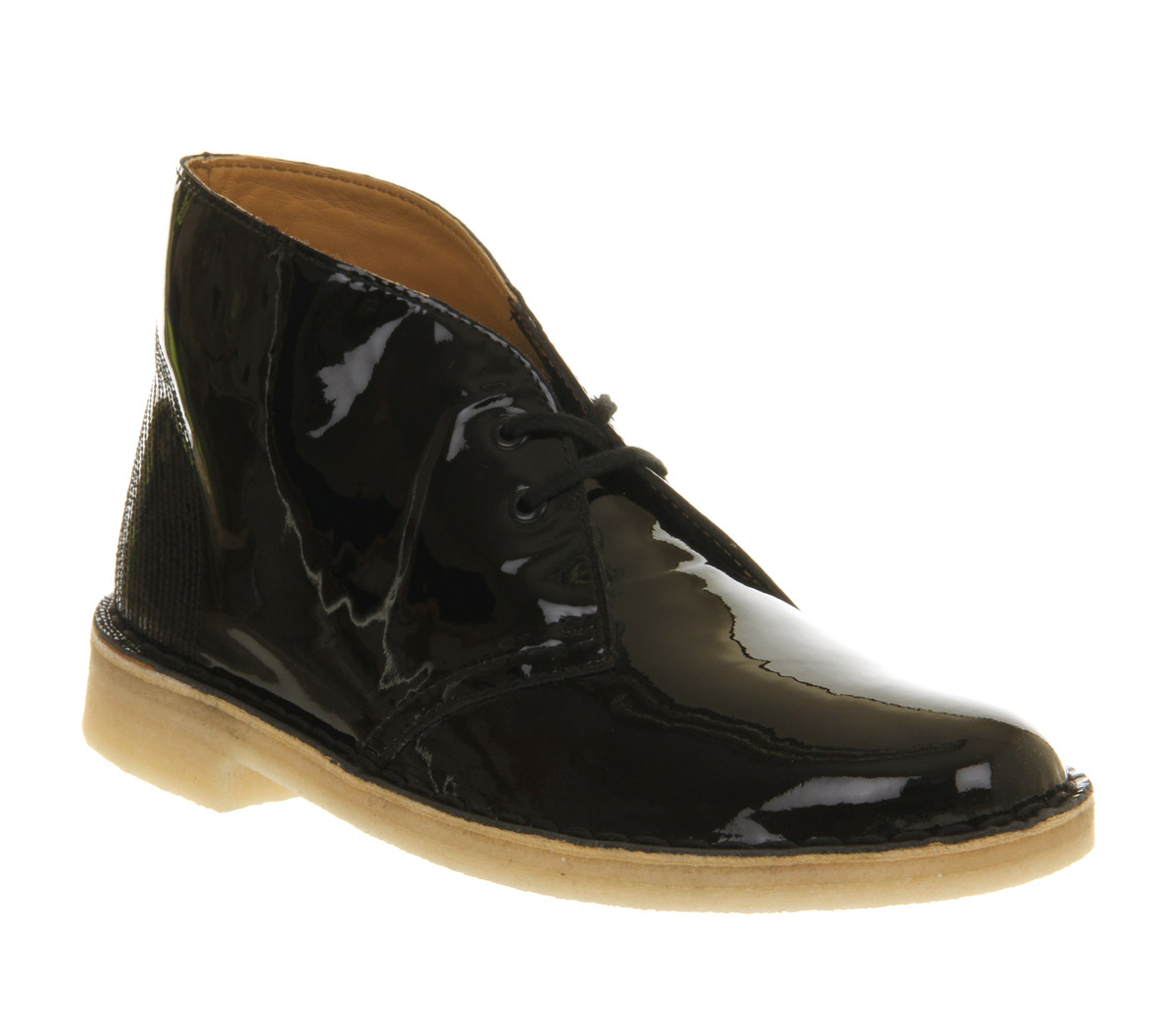 womens clarks originals desert boot black patent boots ebay. Black Bedroom Furniture Sets. Home Design Ideas