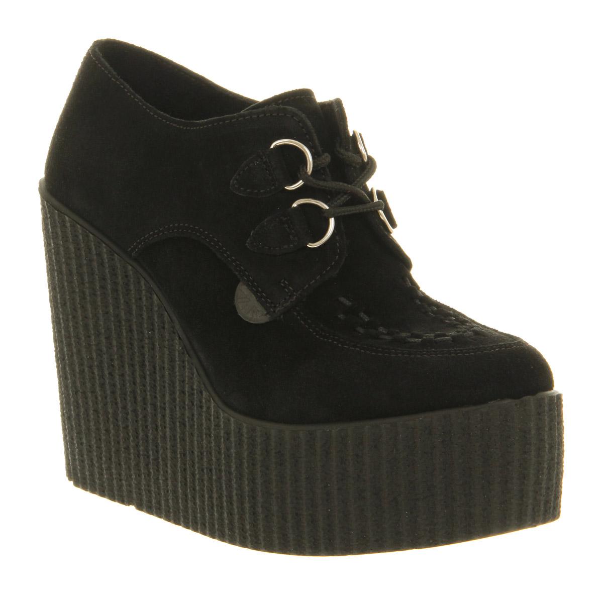 womens underground creeper wedge black suede heels size