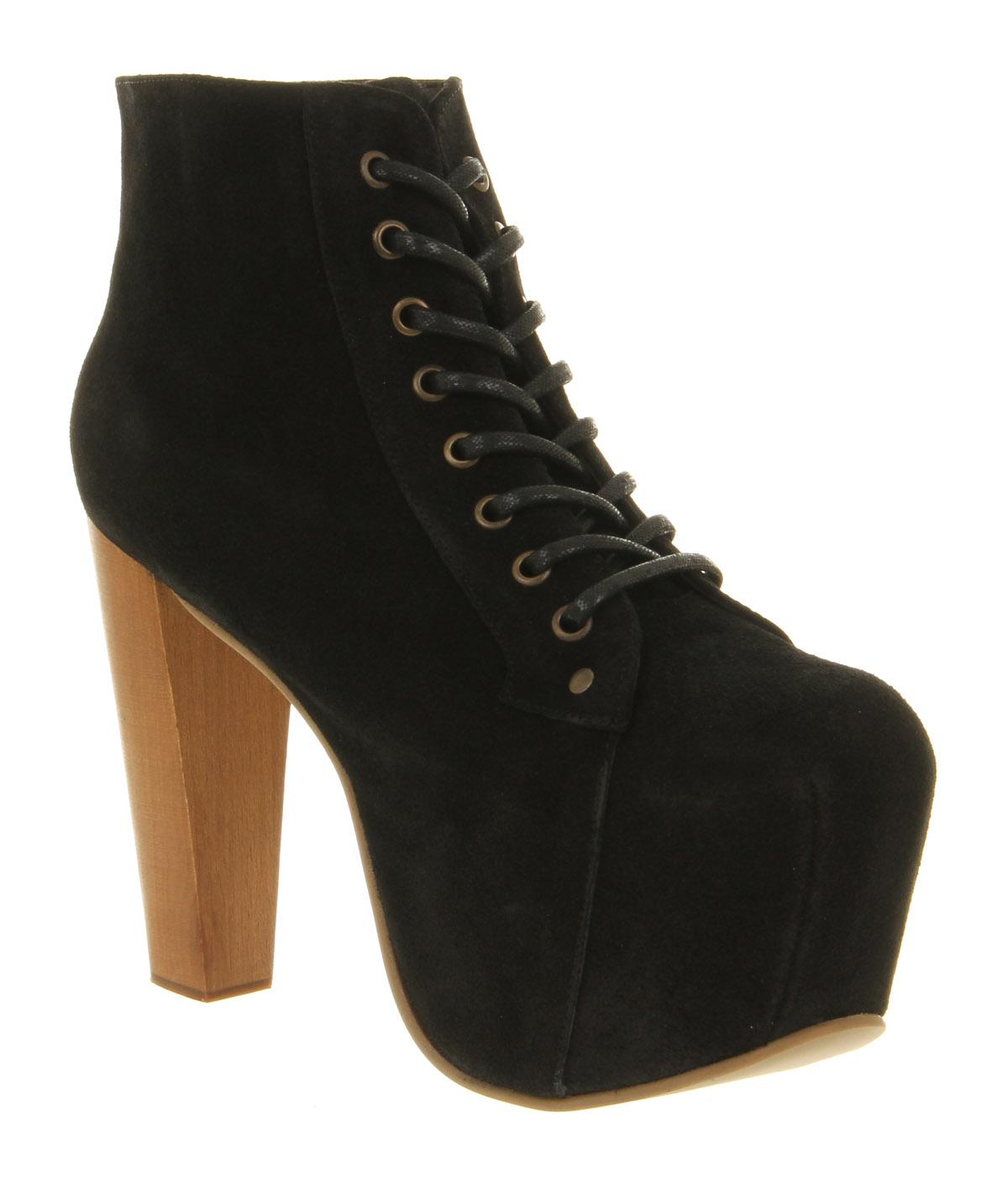 womens jeffrey campbell lita platform ankle boot black suede boots size 7 ebay. Black Bedroom Furniture Sets. Home Design Ideas