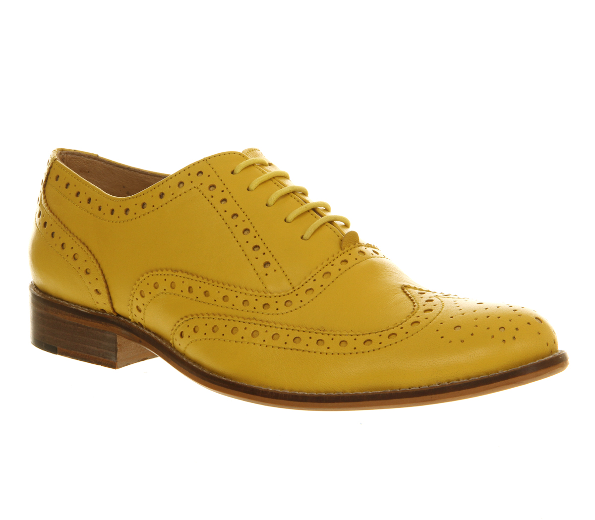 mens office frankie brogue yellow leather formal shoes